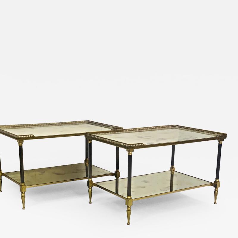 Maison Jansen Pair of Metal Maison Jansen Coffee Tables with Antique Mirrored Glass