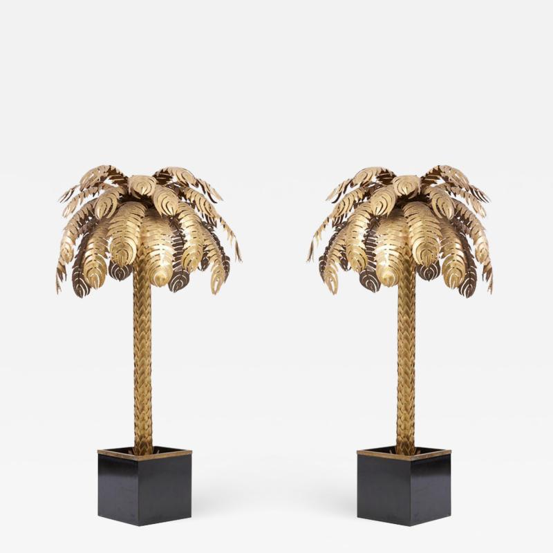 Maison Jansen Pair of Very Impressive Brass Palm Floor Lamps by Maison Jansen