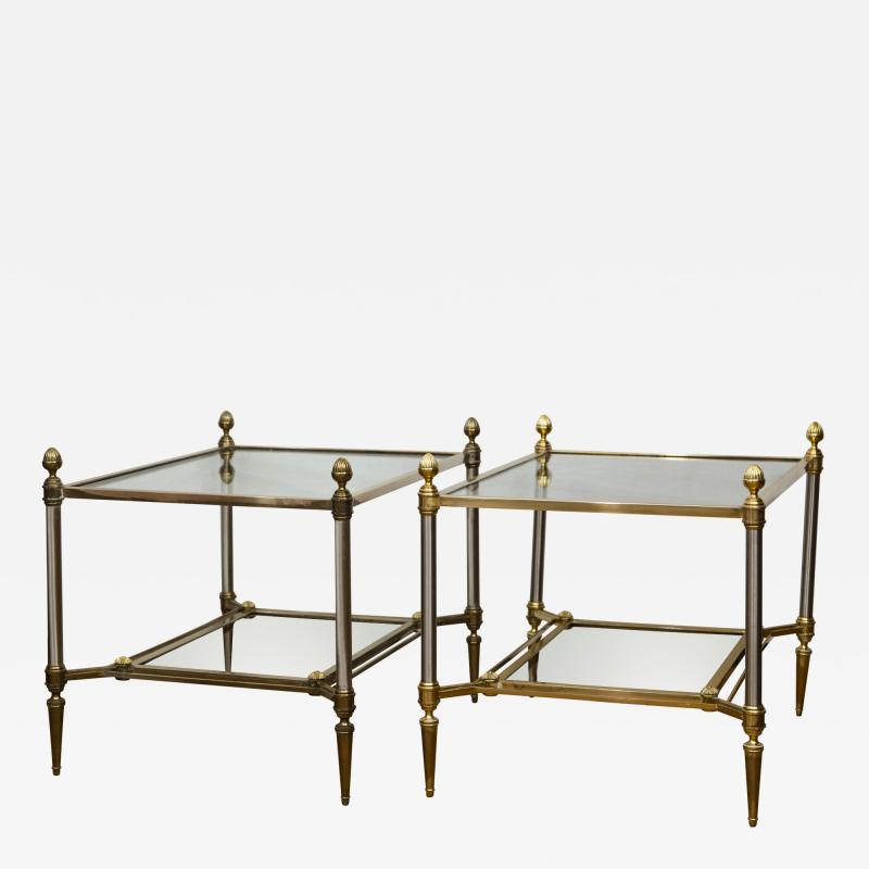 Maison Jansen Pair of XXth Century Maison Jansen Brass Chrome Two Tier Side Tables