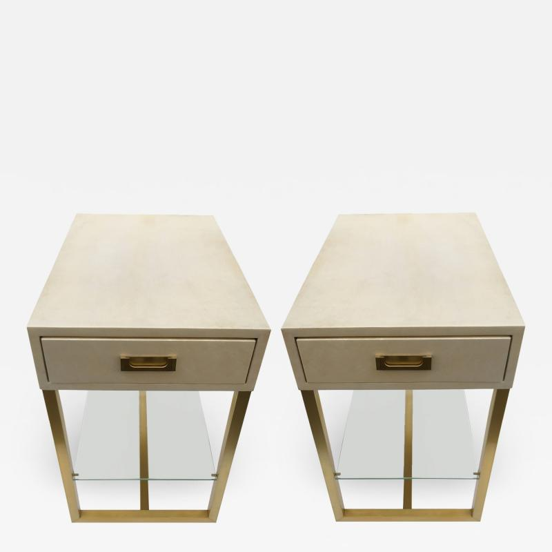 Maison Jansen Pair of gueridons end tables Guy Lefevre for Maison Jansen France 1970