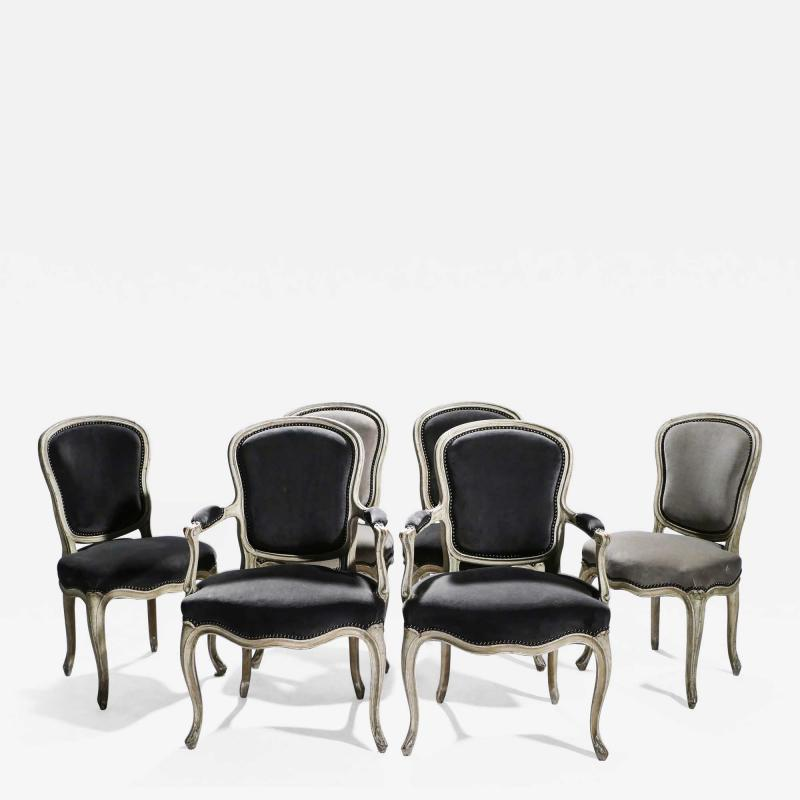 Maison Jansen Rare Set of Six Stamped Maison Jansen Louis XV Chairs and Armchairs 1940s