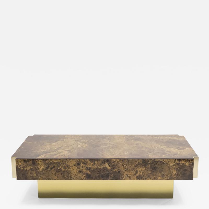 Maison Jansen Rare golden lacquer and brass Maison Jansen coffee table 1970 s