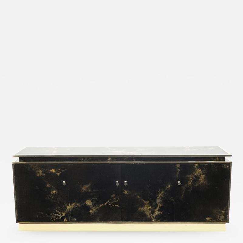 Maison Jansen Rare golden lacquer and brass Maison Jansen sideboard 1970s