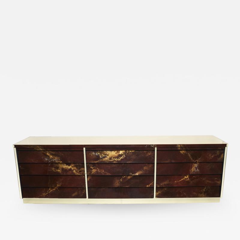 Maison Jansen Unique golden lacquer brass Maison Jansen sideboard commode 1970s