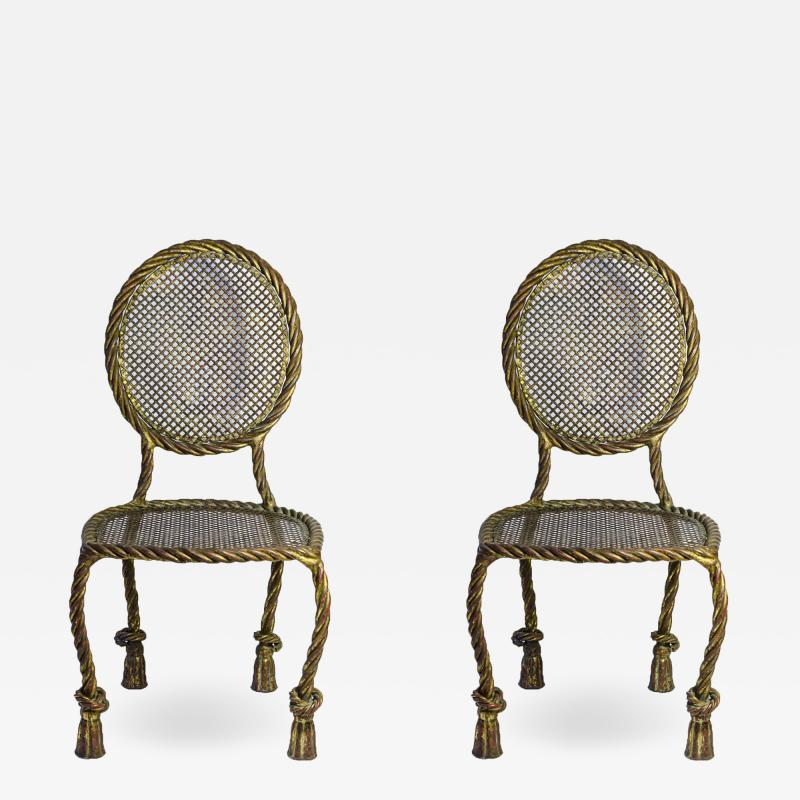 Maison Ramsay Maison Ramsay Pair of Chairs Golden Iron circa 1930 France