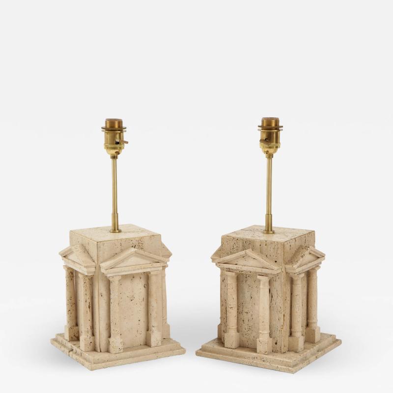 Maison Romeo Pair of travertine Roman temple shaped table lamps France 1970s
