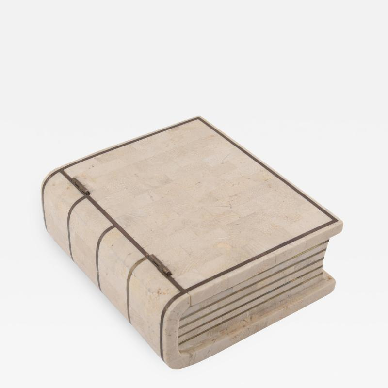 Maitland Smith 1980s Maitland Smith Book Shaped Box Clad in Tesselated Stone with Brass Trim
