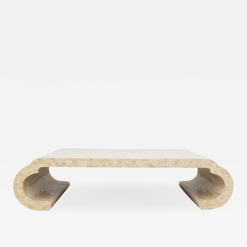 Maitland Smith Maitland Smith Tesselated Bone Coffee Table with Brass Edge Detail