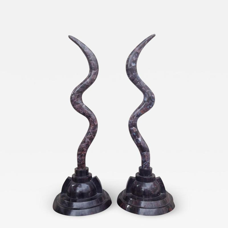 Maitland Smith Pair of Fossil Stone Marcius for Casa Bique Antler Sculptures