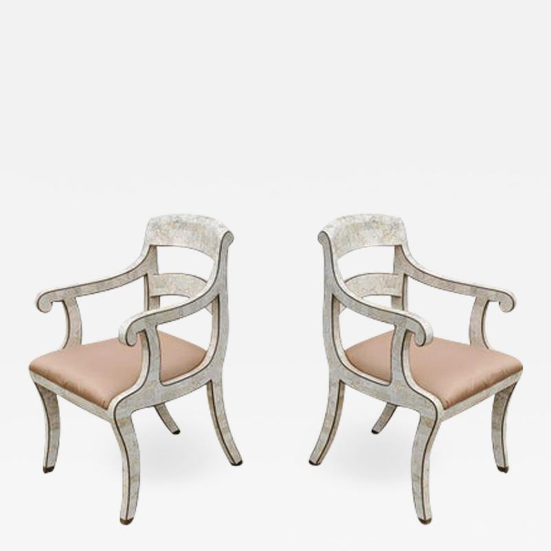 Maitland Smith Pair of Maitland Smith Tessellated Marble Bronze Inlay Armchairs