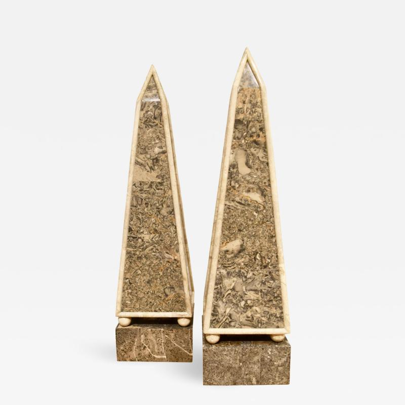 Maitland Smith Pair of Modernist Tessellated Stone Obelisks by Maitland Smith