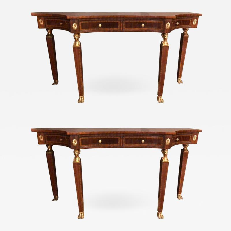 Maitland Smith Pair of Russian Neoclassical Style Flame Mahogany Console or Sofa Tables