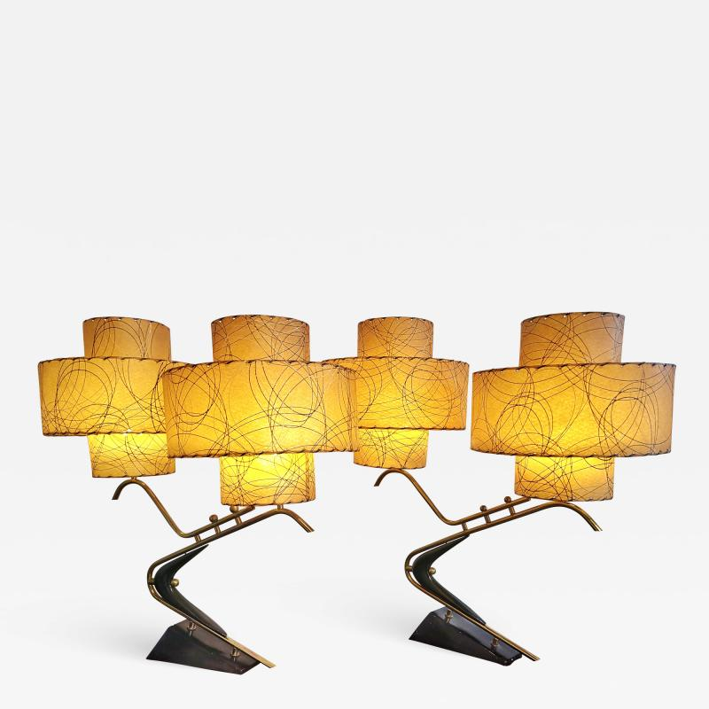 Majestic Lamp company 1950s BOOMERANG TABLE LAMPS WITH TRIPLE LEVEL FIBERGLASS SHADES PAIR