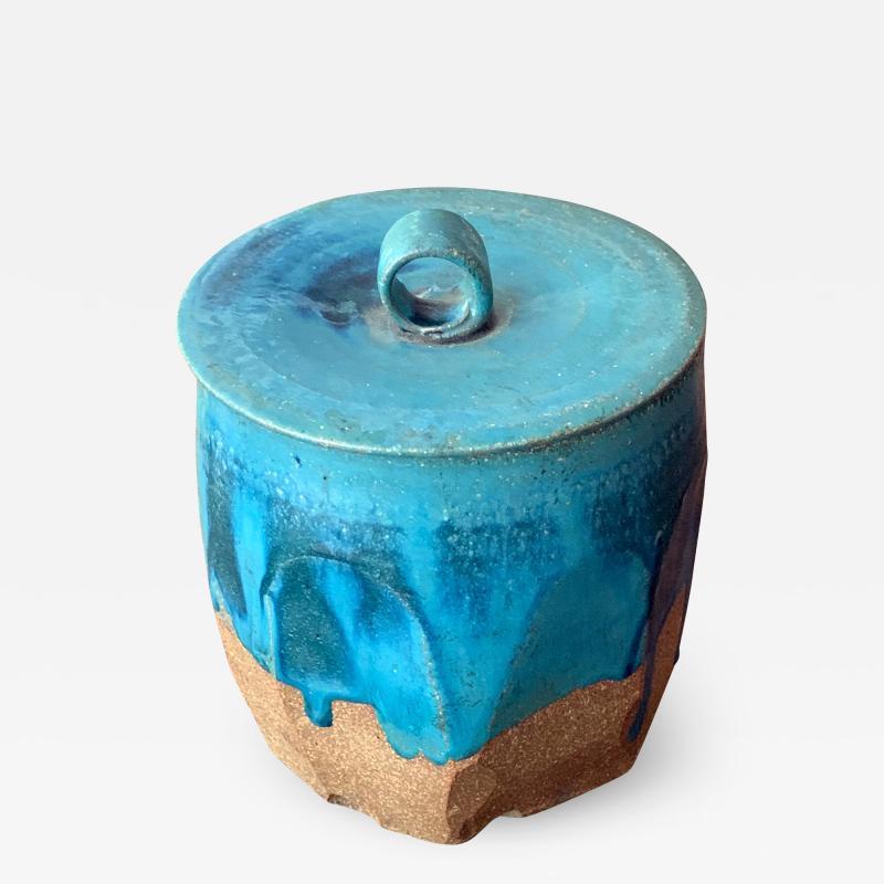 Makoto Yabe Ceramic pot with lid Japanese Mizusashi by Makoto Yabe