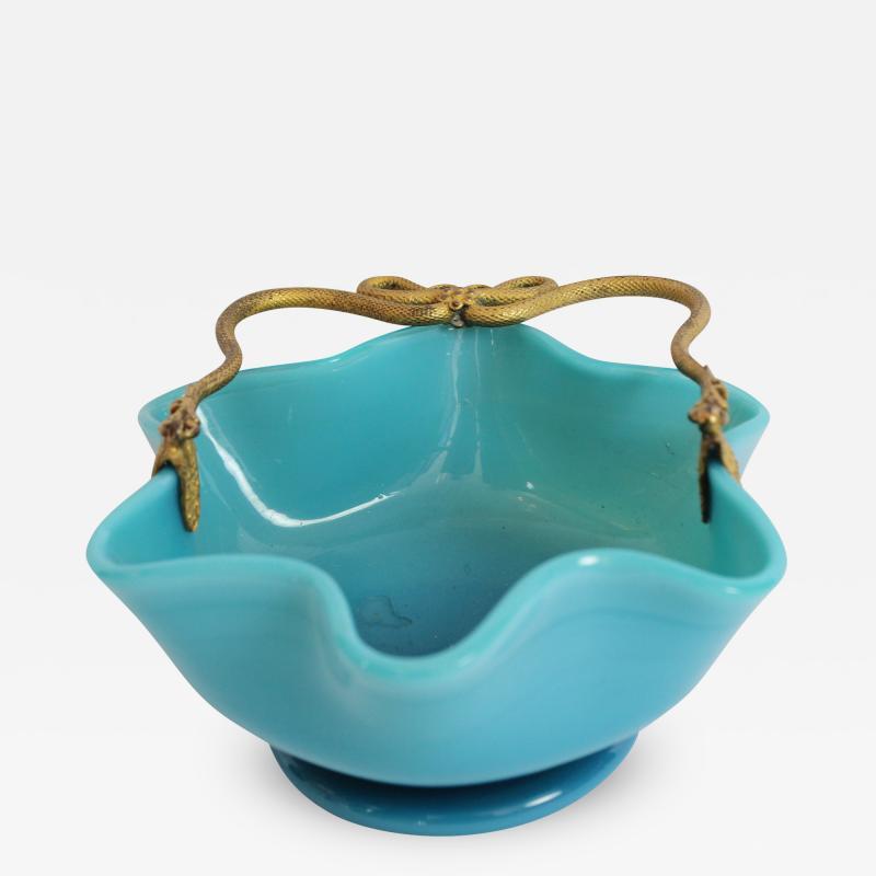 Manufacture de Bercy A Blue Opaline Little Basket in with Mercury Gilt Serpent Mounts
