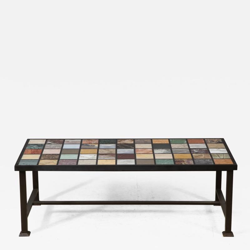 Marble Top Coffee Table on contemporary steel base