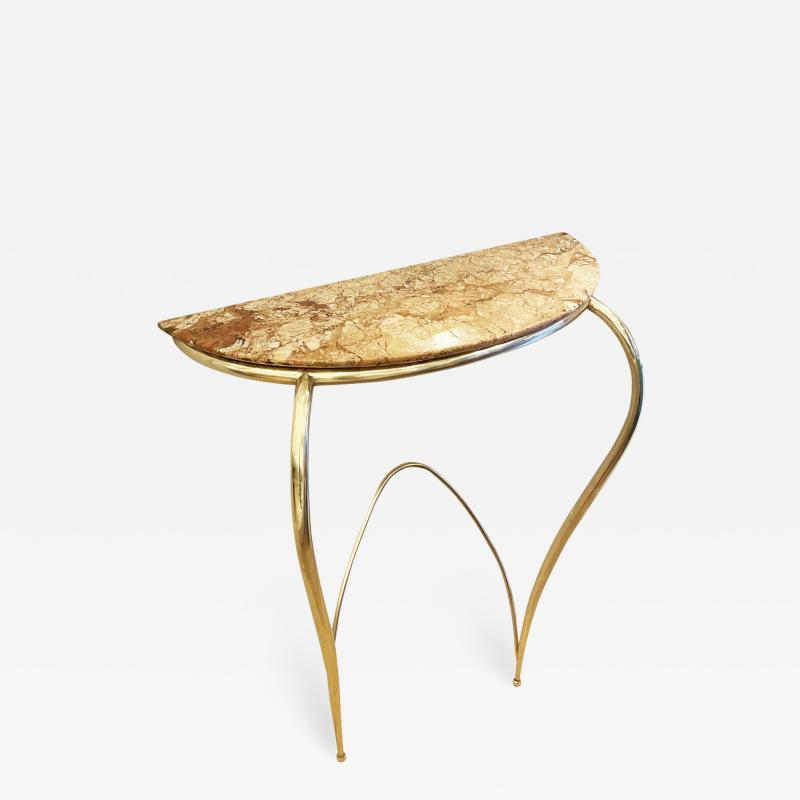 Marble and Brass Wall Console Italy 1950s