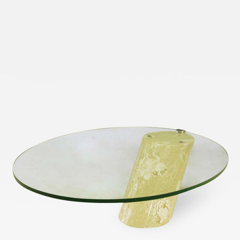 Marble and Cantilever Oval Glass Coffee Table in the Manner of Brueton