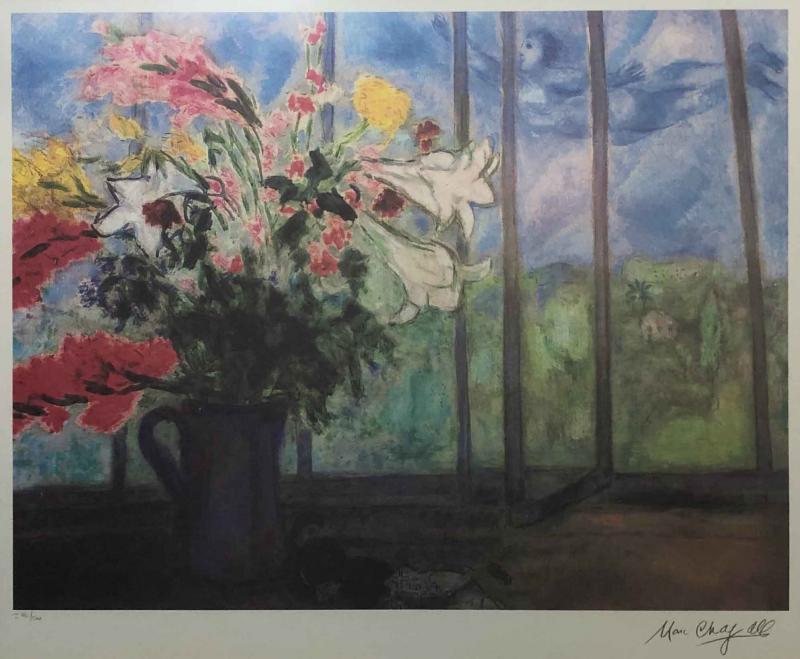Marc Chagall Marc Chagall Lithograph Bouquet de fleurs devant une fenetre ouverte Signed