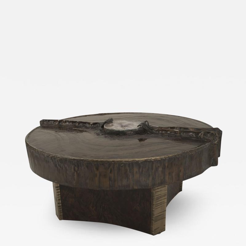 Marc DHaenens Belgian Post War Design Round Sculptural Coffee Table