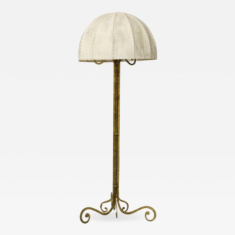 Marc Du Plantier Floor Lamp Midcentury by Marc du Plantier in Brass and Parchment 1950s