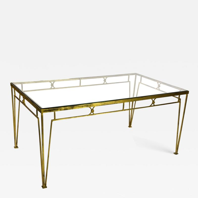 Marc Du Plantier Marc Duplantier style long gold leaf wrought iron dinning table