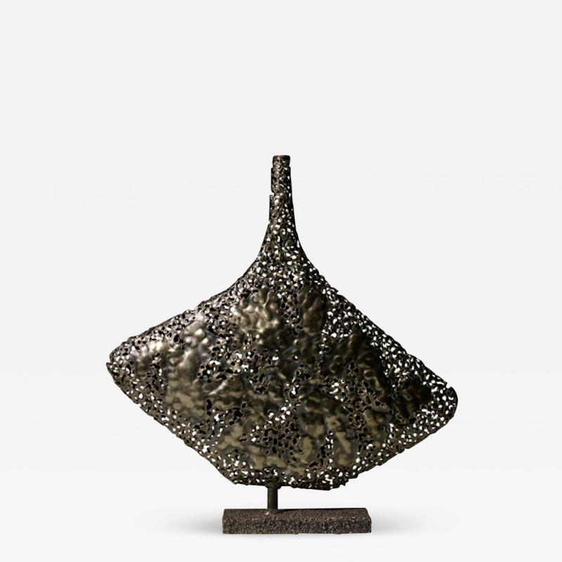 Marcello Fantoni RARE BRUTALIST WELDED AND PATINATED STEEL VASE BY MARCELLO FANTONI FOR RAYMOR