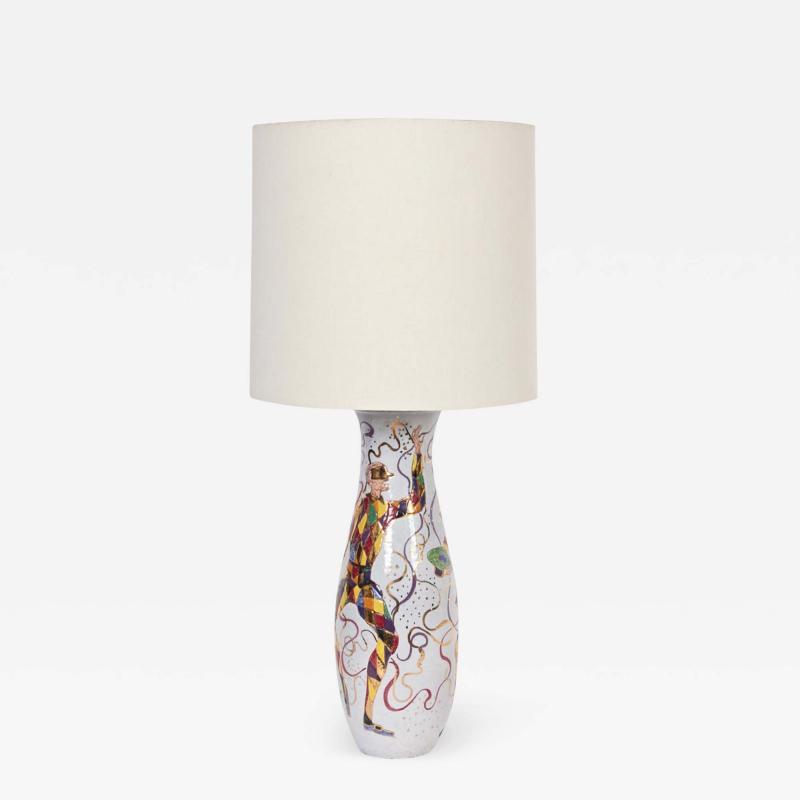 Marcello Fantoni Tall Marcello Fantoni Colorful Hand Painted Harlequin Ceramic Table Lamp