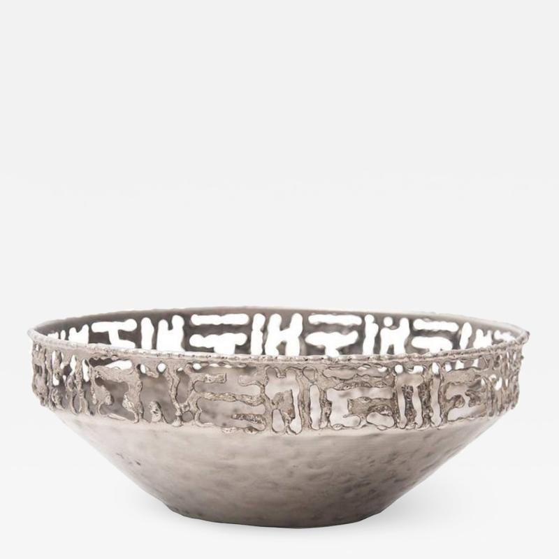 Marcello Fantoni Torch Cut Metal Bowl by Marcello Fantoni