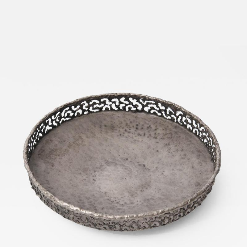 Marcello Fantoni Torch cut and hammered metal bowl by Marcello Fantoni