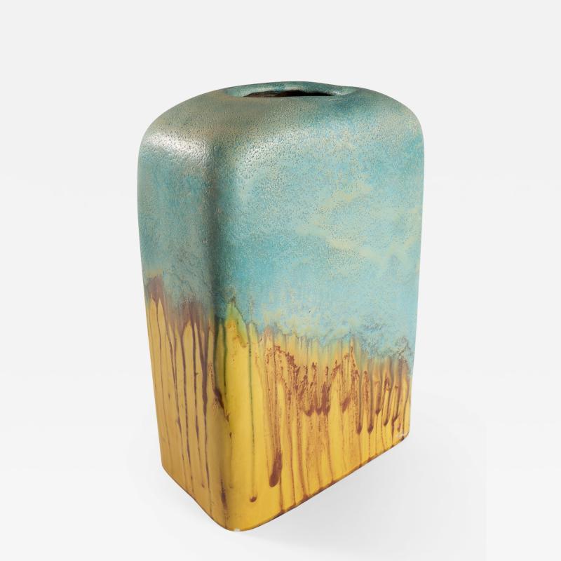 Marcello Fantoni large turquoise and yellow slab vase by Marcello Fantoni