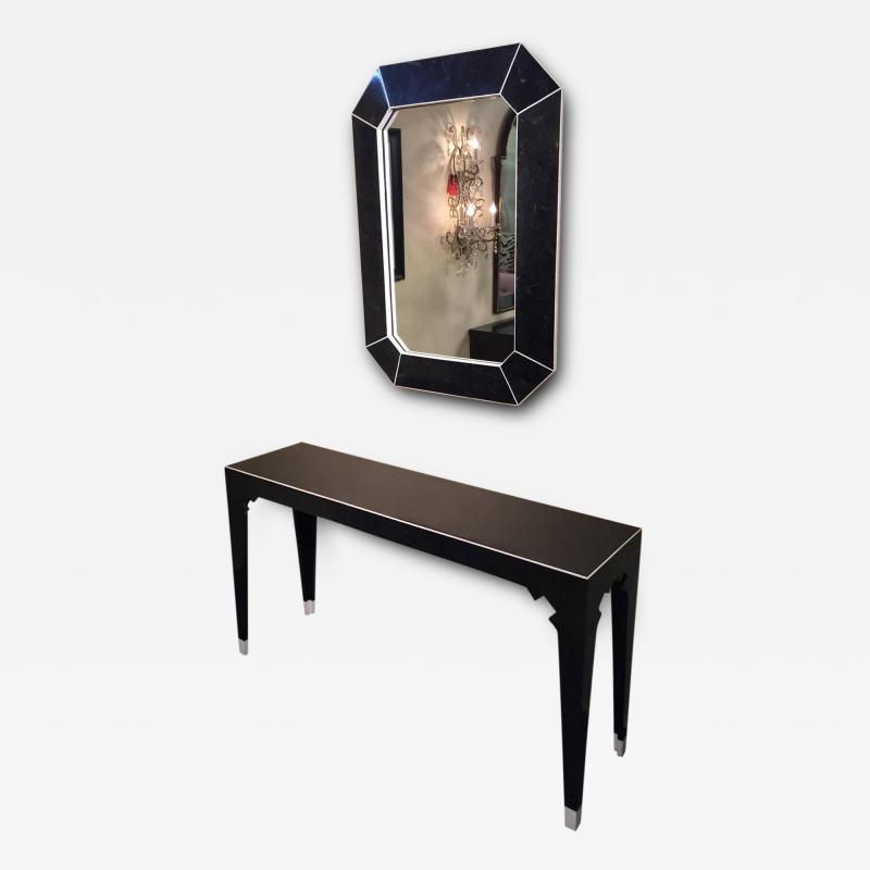Marcius Style Black and White Fossil Stone Console with Matching Mirror