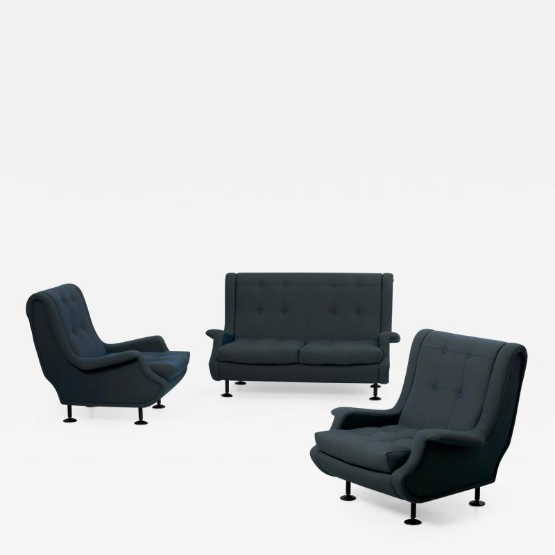 Marco Zanuso Marco Zanuso Regent Set of Settee and Lounge Chairs for Arflex
