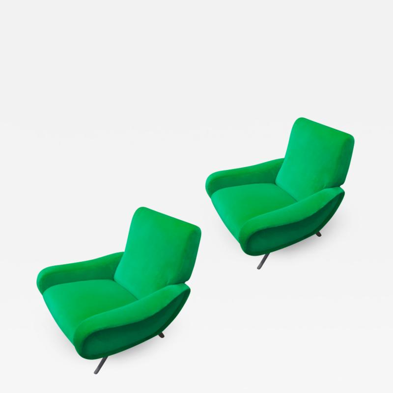 Marco Zanuso Marco Zanuso pair of model lady arm chair newly covered in green velvet