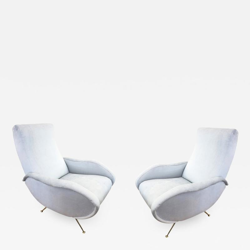 Marco Zanuso Pair of Mid Century Armchairs in the Manner of Marco Zanuso