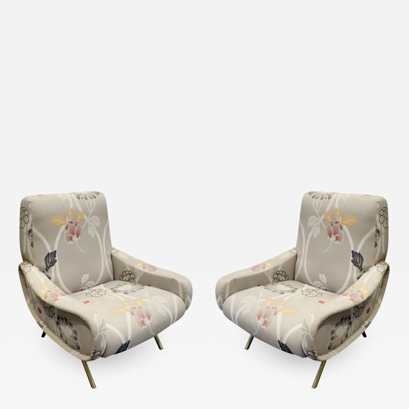 Marco Zanuso Pair of Sculptural Italian Lounge Chairs with Brass Legs 1950s