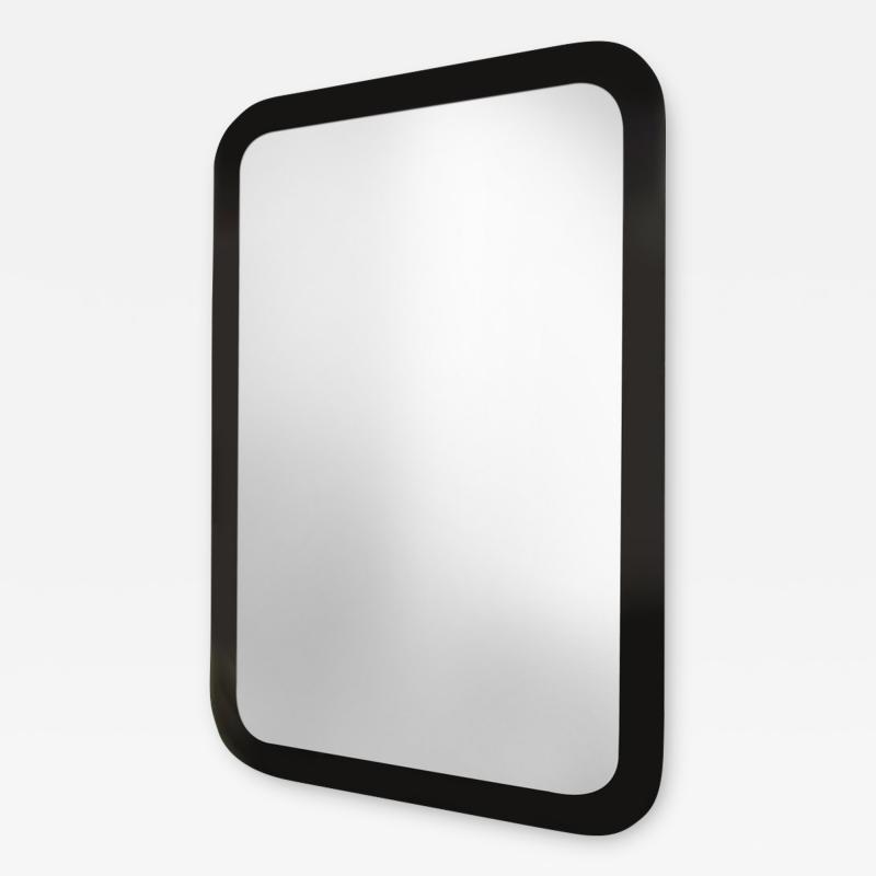Marge Carson Decorative Contemporary Beveled Edge Black Glass Mirror