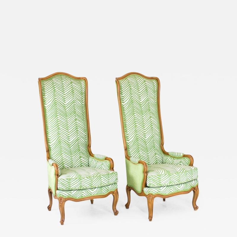 Marge Carson Hollywood Regency Tall Wingbacks in the Style of Marge Carson
