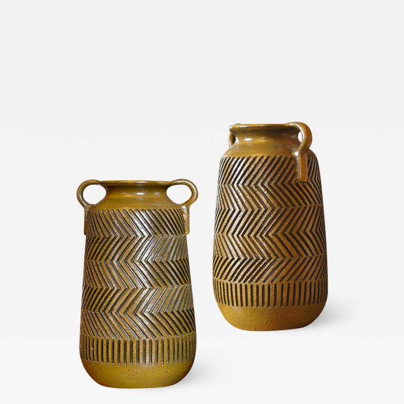 Mari Simmulsson Striking Pair of Zig Zag Floor Vases by Mari Simmulson for Upsala Ekeby