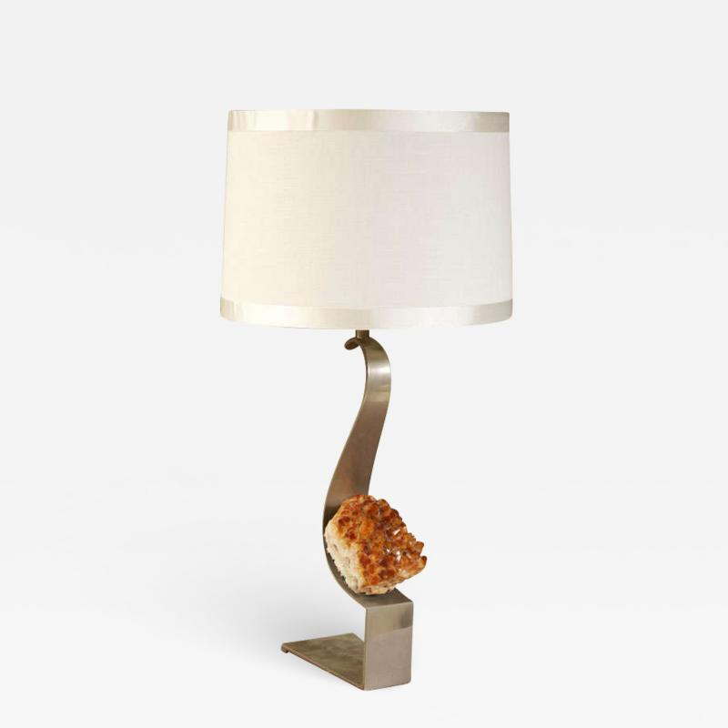 Maria Pergay Modernist Steel and Amethyst Table Lamp