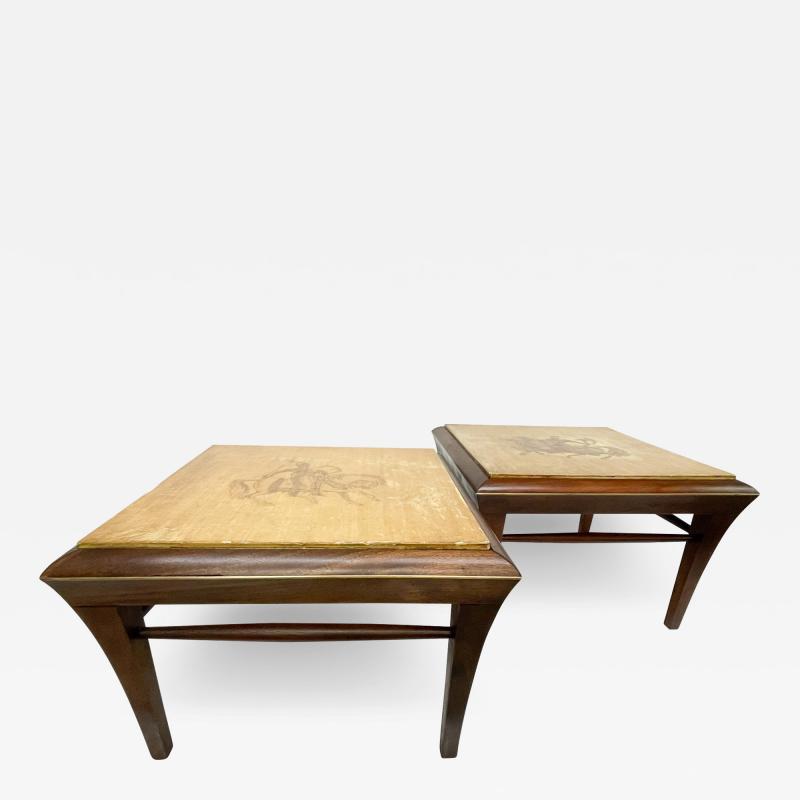 Maria Teresa Mendez Neoclassical Mahogany Goatskin Side Tables Hand Painted