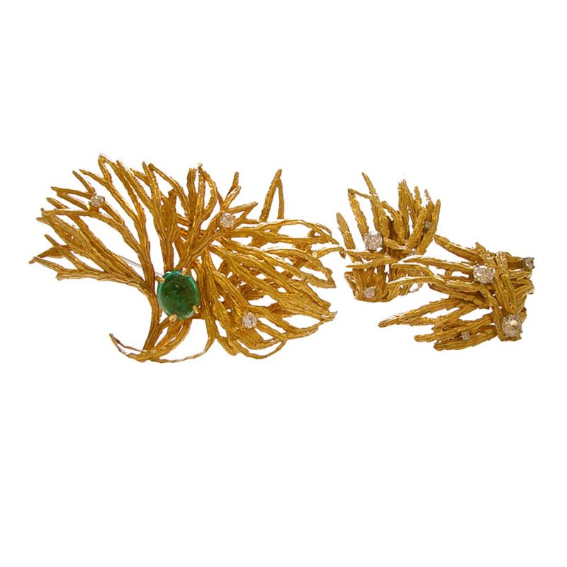 Marianne Ostier MARIANNE OSTIER Gold Emerald and Diamond Brooch Ear Clips