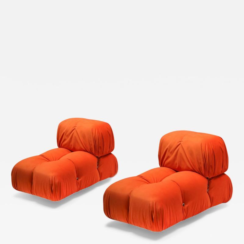 Mario Bellini Camaleonda Lounge Chairs in Bright Orange Velvet 1970s