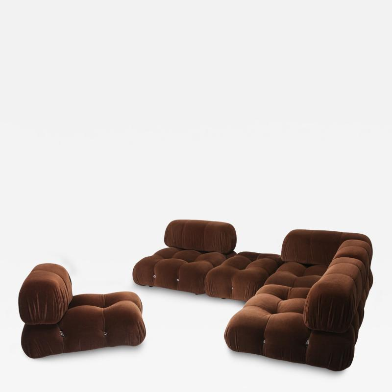Mario Bellini Camaleonda Sectional Sofa by Mario Bellini In Original Brown Velvet 1970s