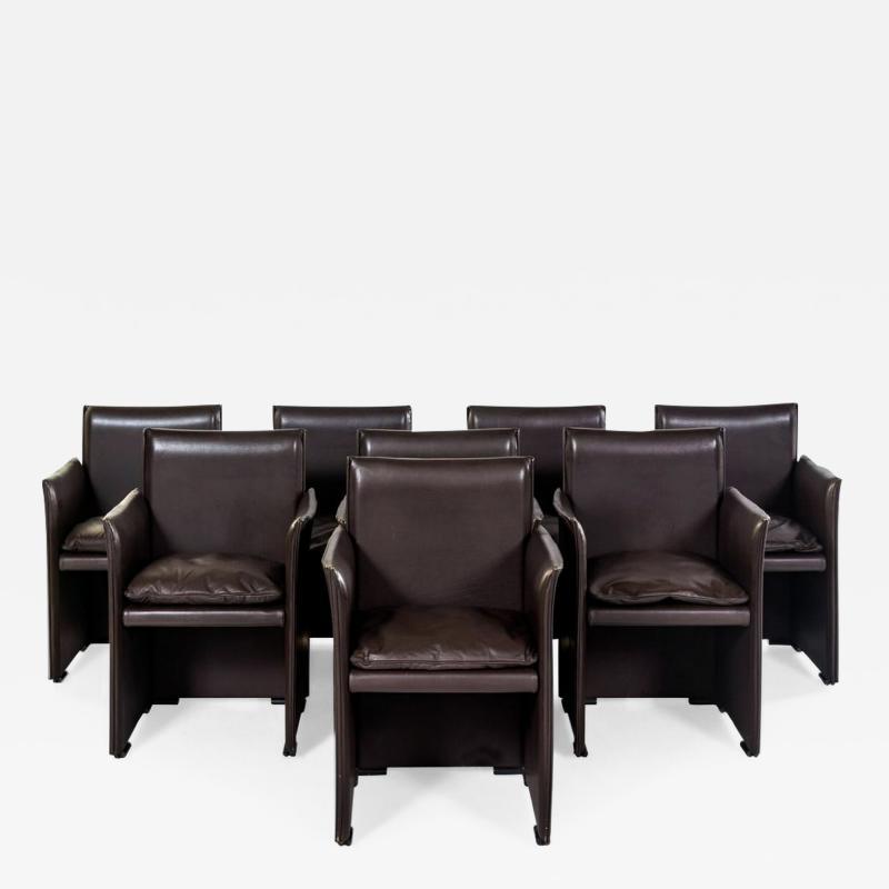 Mario Bellini Set of Eight Italian Leather Armchairs Mario Bellini Cassina