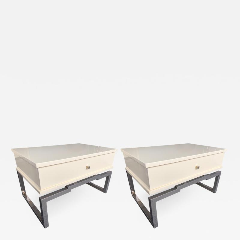 Mario Sabot Pair of Lacquered and Metal Chrome Side Tables by Mario Sabot Italy 1970s