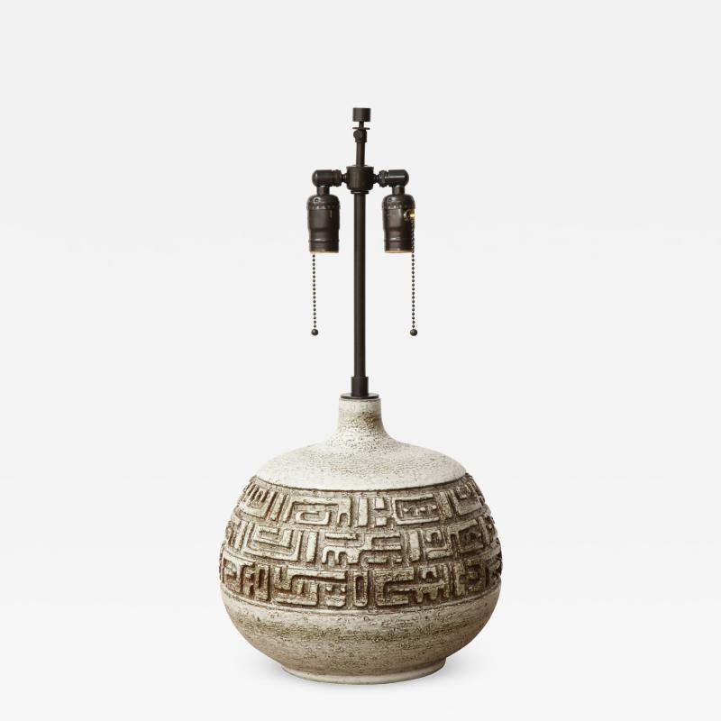 Marius Bessone Monumental ceramic lamp with deeply incised design