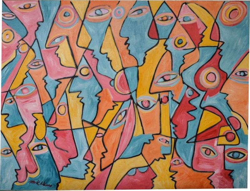 Mark Adams All Those Eyes Acrylic On Canvas by Mark Adams