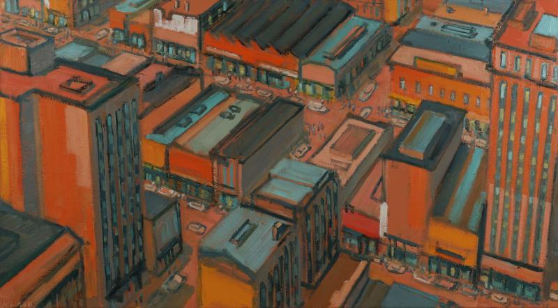 Mark Horton City in Orange and Green 32 x 58
