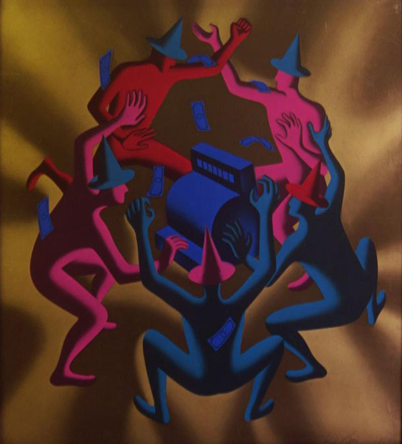Mark Kostabi Cash Dance Lithograph by Kostabi